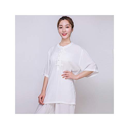 tai chi Uniform Kung Fu Uniform Kleidung Atmungsaktive Leinenbaumwolle Kampfkunst Anzug Sommer Kurzarm Gruppenleistungsbekleidung,White-XXL