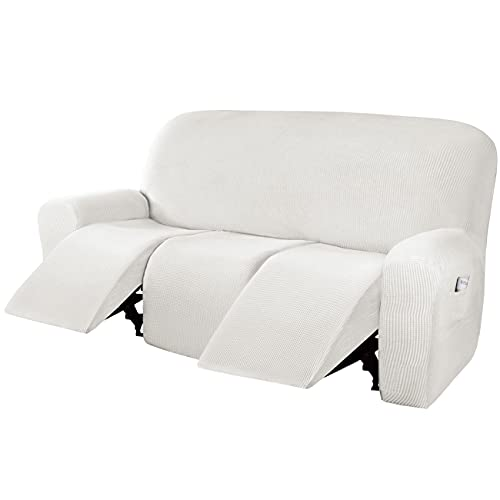 H.VERSAILTEX Super Stretch Recliner Sofa Covers Reclining Couch Covers Recliner Sofa Slipcovers 3 Seater Furniture Covers Thick Soft Jacquard Fabric Form Fitting and Easy Put On, Off White