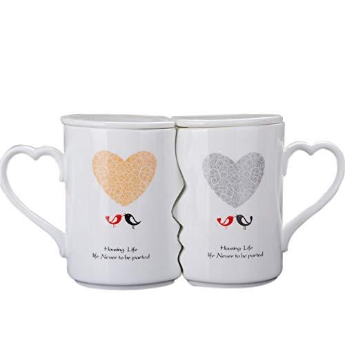 LKXHarleya Creative Kissing Mugs Set, Ceramic Couple Coffee Mug with Lid, 12 OZ White Heart Tea Cup Set for Anniversary, Wedding, Birthday Gift