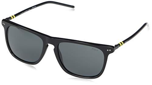 Polo Ralph Lauren Ph4168 Óculos de sol masculinos, Preto brilhante/cinza, 53 mm