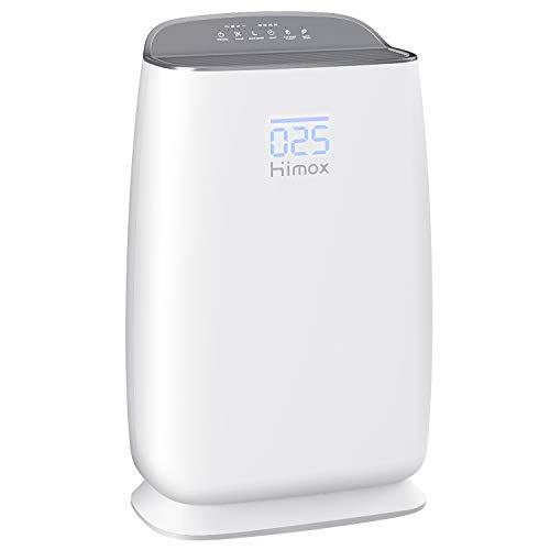 HIMOX Luftreiniger Allergie mit H13 HEPA Filter Luftreiniger zu Hause mit Smart Luftqualität Sensor 25dB Schlafmodus Luftreiniger Zigaretten Rauch Luftreiniger für Pollen,Keime,Haustier Haare