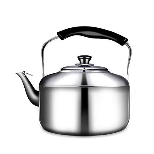 AWJ Teteras de Camping para Agua hirviendo Tetera de Acero Inoxidable de Grado alimenticio para Estufas, hervidor de té con silbido, Exquisito Proceso de Pulido, diseño ergonómic