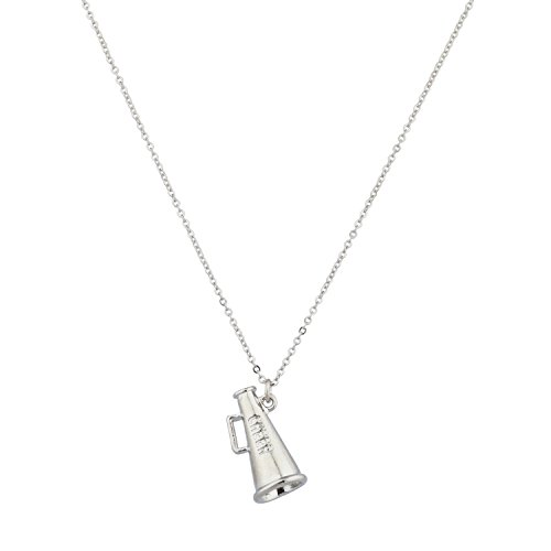 LUX ACCESSORIES Kids Girls Cheerleader Silver Megaphone Pendant Necklace
