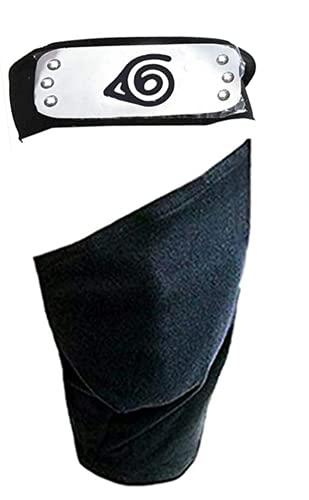Ninja Cosplay Headband,Leaf Village Headband/Forehead Protector and Face Mask Kakashi Cosplay Mask Veil (Black)