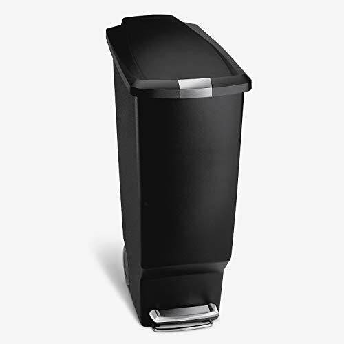 simplehuman, poubelle étroite à pédale, plastique noir, 40 litres