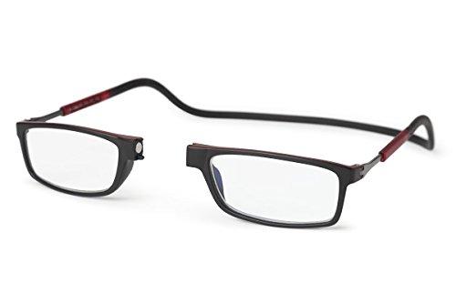 SPORTS WORLD VISION's Gafas de lectura magnéticas Slastic Clic Style (negro y marrón) Doku 010 Gafas de gafas fuertes y duraderas con estuche blando, lentes antirreflectantes y lados ajustables, 2.0