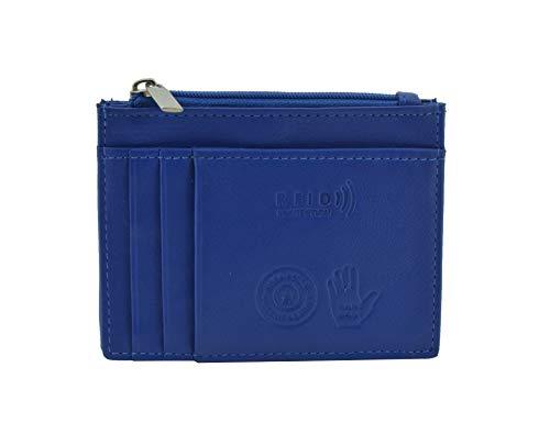 Conte Massimo, Tarjetero en cuero genuino, para hombre y mujer, con bolsillo Protección RFID azul eléctrico Protección RFID