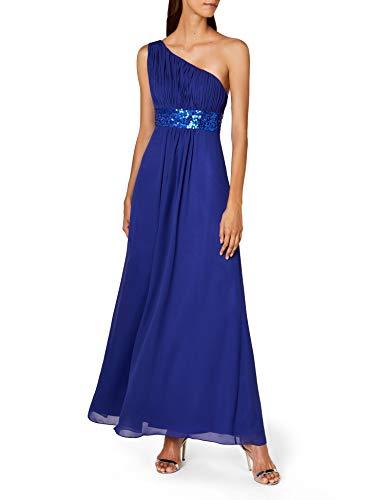 Astrapahl Damen Kleid One Shoulder mit Pailletten, Maxi, Einfarbig, Gr. 38, Blau