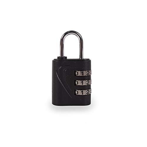 TEMPO - 00102 Candado de combinación de 3 dígitos sin llave. Múltiples usos: Para maletas, taquillas, herramientas, equipaje, colegio. Aleación de zinc y ABS., Color Negro
