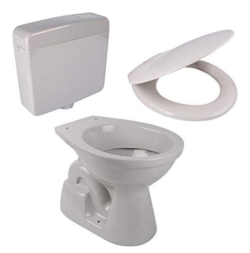 Calmwaters® - Stand-WC mit senkrechtem Abgang im Komplett-Set mit WC-Sitz und Spülkasten in Manhattan-Grau - 99000186