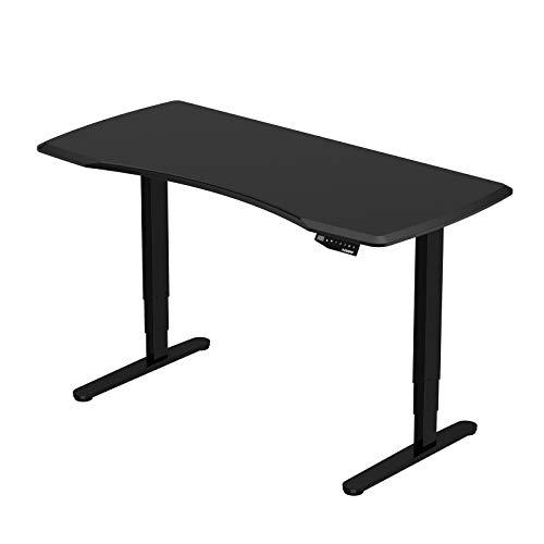 Flexispot Höhenverstellbarer Elektrisch Schreibtisch, 3-Fach-Teleskop. Mit Memory-Steuerung und Softstart/-Stop (Schwarz+Schwarz)