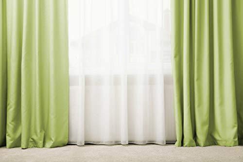Generico Tenda/Tendone 100% Seta,137x280 Oppure 300 Tenda Oscurante con Passanti, Tenda a Drappeggio (Verde Salvia)