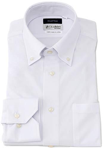 [アイシャツ] i-shirt 白無地 完全ノーアイロン ストレッチ 超速乾 長袖 アイシャツ ワイシャツ ホワイト メンズ 形態安定 無地 スリムフィット 長袖ボタンダウン M151180042 日本 S80(首回り37cm×裄丈80cm) (日本サイズS相当)
