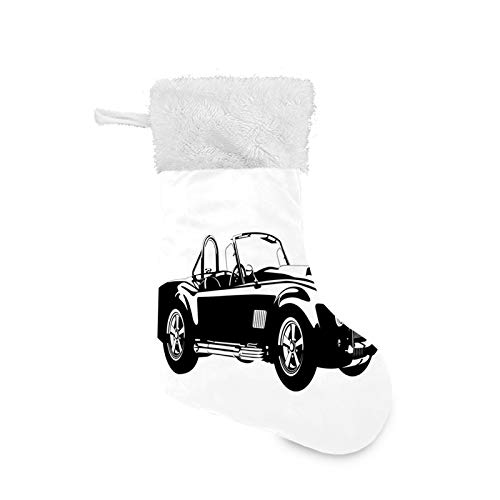 TENJONE Christmas Stocking Hanging Decoration Holiday Ornaments Home Decor Toys Candy Gift Bag,Silhouette Classic Sport Car Ac Cobra Roadster American Antique Engine Autosport 1 Pack
