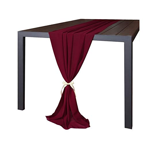 Jjwlkeji Table Runners Wedding Table Runners Dusty Blue Burgundy Pink Grey Soft Chiffon Fabric Wedding Runner Bridal Party Decorations (68 * 300cm) (Color : Burgundy, Size : About 68cm x 300cm)