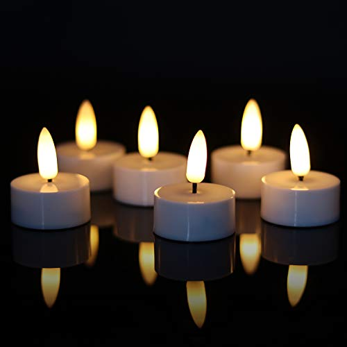 Eldnacele 6PCS Battery Operated Flameless LED Tea Light with 6H Timer, Flickering Flameless Electric Tealight Candles, 3D Wick Realistic Votive Led Candles for Wedding Festival Decor, 1.5''x1.8''