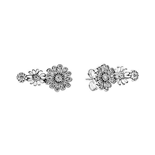 Pandora Sparkling Daisy Trio Stud Earrings 298876C01, Silver, 1.6 cm