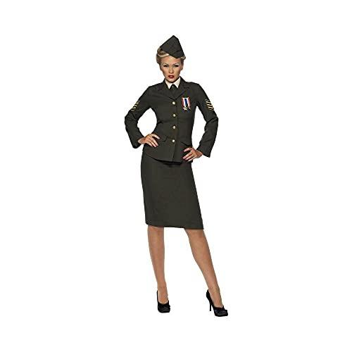 Smiffys, Damen Kriegszeit Offizier Kostüm, Rock, Jacke mit Orden, Hemdfront, Schlips und Mütze 35335, Grün, Large