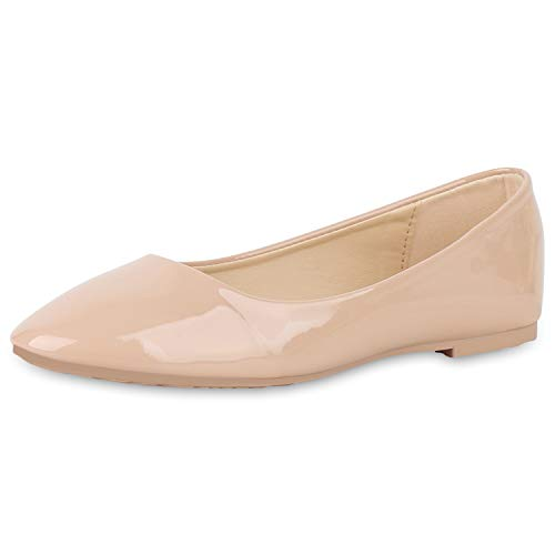 SCARPE VITA Damen Klassische Ballerinas Elegante Slip On Schuhe Lack Slipper Flache Abendschuhe Flats Glitzer 181583 Nude Lack 38