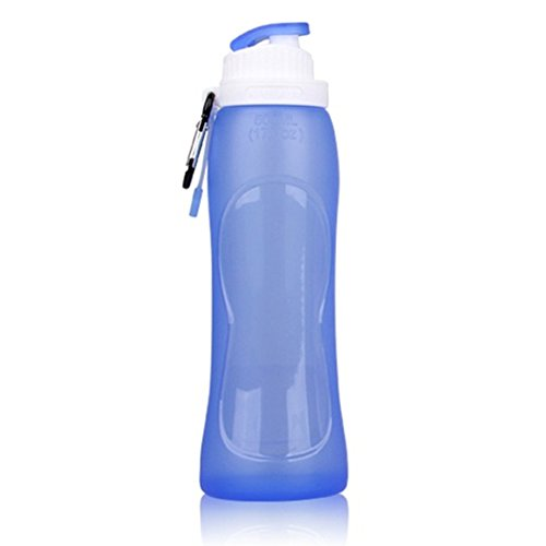 Toweter 500ml Silicone Pieghevole Comprimibile Bottiglia D'acqua, Formato Tascabile Migliore per Escursioni a Piedi, Jogging, Campeggio, Elaborazione e di Tutti i giorni (Blu)