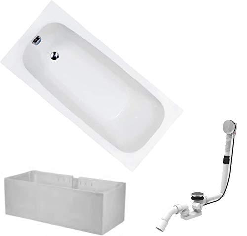 HOESCH Badewanne RIVIERA | Design Badewanne | Acryl | 170x75cm | KOMPLETTPAKET mit Wannenträger und Ablaufgarnitur | Modell BADOSAN