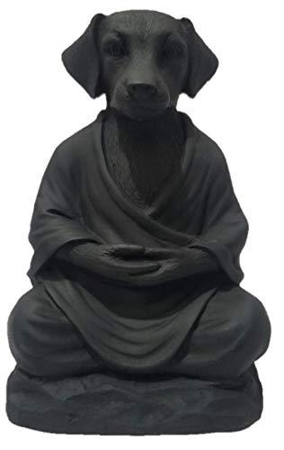 Dog Statue Zen Yoga Relaxed Pose Buddha Meditation Figurine in Pure Black Finish