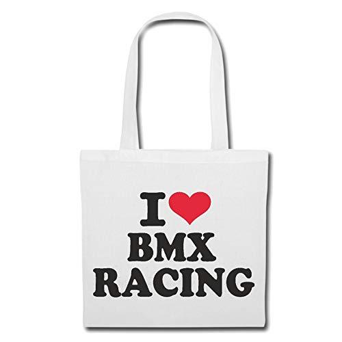 Tasche Umhängetasche I Love BMX Racing - Fahrrad - CROSSRAD - BMX Helm - BMX Meisterschaft Einkaufstasche Schulbeutel Turnbeutel in Weiß
