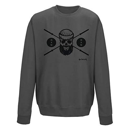 GO HEAVY Herren Fitness Sweatshirt | Langarm Gym Sportshirt Trainings Pullover | Barbell Skull | Grau L