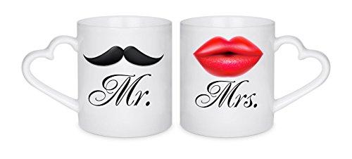 Creativ Deluxe Partnertasse Mr. & Mrs. Partner-Kaffeetasse mit Motiv, Bedruckte Tasse mit Sprüchen oder Bildern - auch individuelle Gestaltung nach Kundenwunsch
