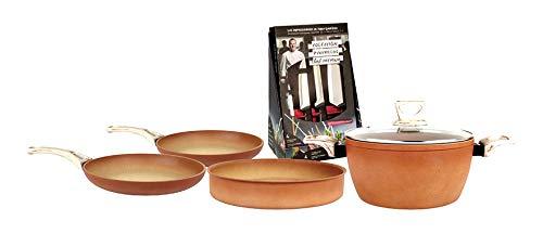 Set Amercook sartén de 24 cm y 26 cm, cacerola 24 cm. y cazuela 26 cm. + set de 4 cuchillos Chef Premium