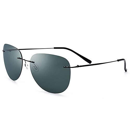Gafas de sol retro clásicas Templos de fibra de carbono para hombre con gafas de sol sin marco de metal polarizado rectangular clásico con templos de fibra de carbono Gafas de sol para hombre mujer