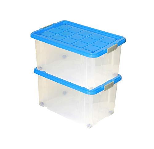 2er Set Eurobox mit Deckel und Rollen 60 X 40 X 33 cm azurblau Griffe silber