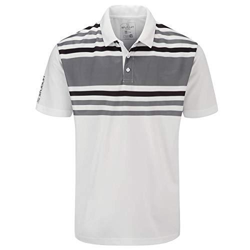 Stuburt Herren SBTS1135 Mens Evolve Pure Stripe Golf Polo Shirt Top Poloshirt, Weiß/Sturm, L