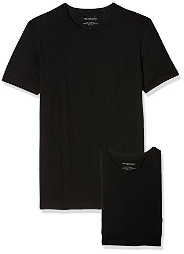 Jack & Jones Mens 2 Pack Crew Neck Cotton T-Shirts Black Large