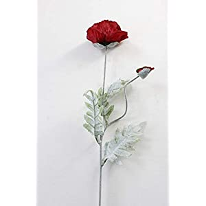 XIDA 70cm Spring 2 Heads Poppy Artificial Flowers DIY Wedding Christmas Party Home Decoration Silk Flower Wall Materials (Red)