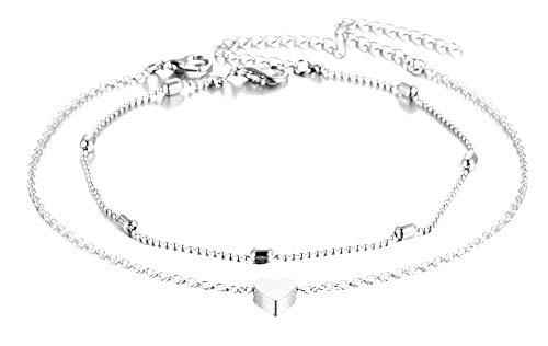 Twee vrouwelijke enkelbanden - vrouw - hangers - hart - meisje - charmes - zomer - verstelbaar - zee - mode - kerstmis - origineel cadeau-idee - sierraden - verjaardag - zilver - sieraden