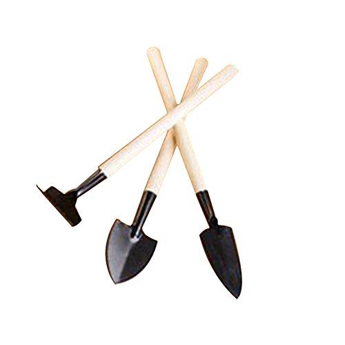 Tellm Lot de 3 outils de jardin Ensemble de jardinage Pelle Fourche Râteau/Manche en plastique outils de jardin