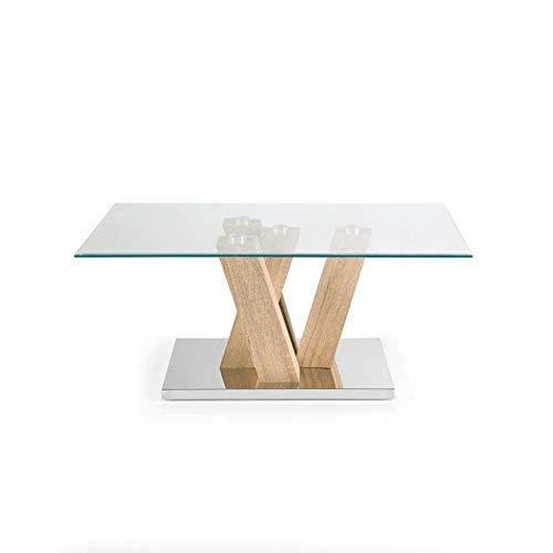 Mocada Yuri Tavolino da Salotto in Legno Acciaio e Cristallo Soggiorno Design - Rovere Well