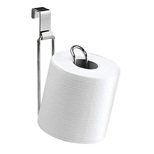 mDesign Metal Over The Tank Toilet Tissue Paper Roll Holder Dispenser and Reserve for Bathroom Storage and Organization - Hanging, Holds 1 Roll - Chrome