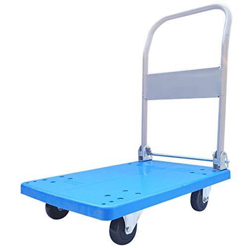 Nobrannd Sackkarre Zum Transport Von Ladung Klappbare Trolley Dolly Scroll Flach Warenkorb Mobile Travel Car und Büro (Farbe : Blau, Größe : 72X46CM)