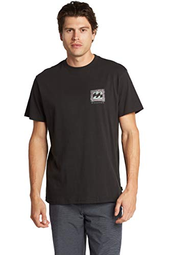 Billabong Men's Classic Short Sleeve Premium Logo Graphic T-Shirt, Black Warp, Large
