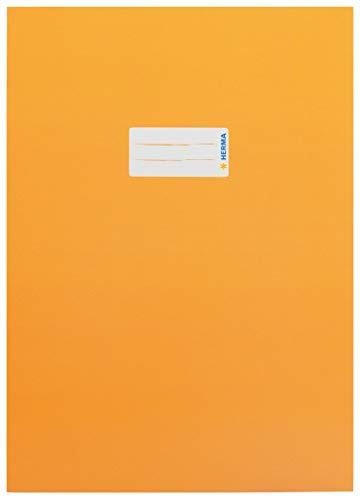 HERMA 19747 Karton Heftumschlag DIN A4 mit Beschriftungsetikett, aus stabilem und extra starkem Papier, Heftschoner für Schulhefte, orange