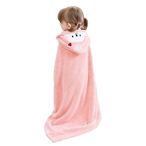 LZJDS Kinderpyjama Nachthemd Cartoon Kaninchen Puder,mit Knöpfen und Hut, weiche und schnell trocknende Decke,Baby Nachthemd Bademantel,Rosa,140CM*70CM