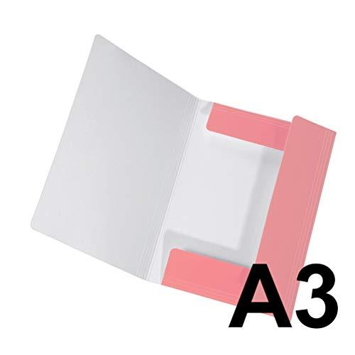 Original Falken Sammelmappe PastellColor. Aus extra starkem Karton mit 3 Klappen und Gummiband für DIN A3 Pastell-Farbe Flamingo_Pink Aufbewahrungs-Zeichen-Mappe für die Schule