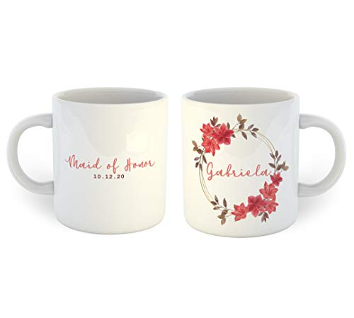 Lplpol Floral Maid of Honor Kaffeetasse, weiß, 11 OZ