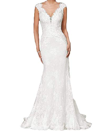 RYANTH Women's Lace Mermaid Wedding Dresses for Bride 2019 V-Neck Bridal Gowns with Train RWD25 Ivory 6