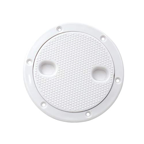 Nbxypeaus 1 Piece ABS Inspection 4 Inch No Screw Round Anti-Corrosive White Access Hatch Cover Deck Plate for Boat Yacht Marine Tight