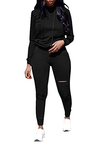 Women's 2 Piece Outfits Set Solid Color Ripped Hole Pullover Hoodie and Sweatpants Tracksuit Sport Jumpsuit (Black, XL)