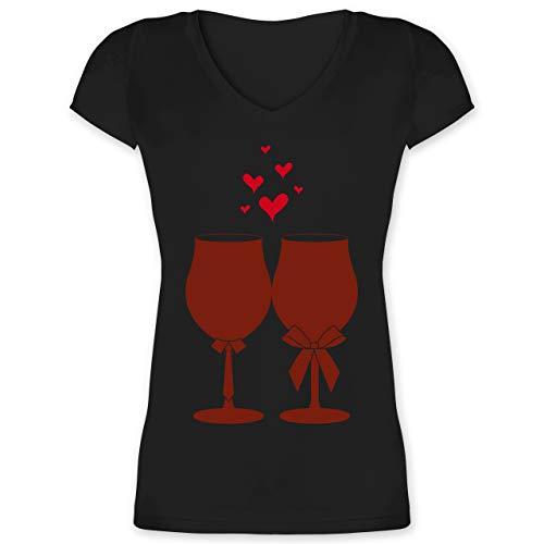 Symbole - Weingläser Wein - XL - Schwarz - Statement - XO1525 - Damen T-Shirt mit V-Ausschnitt