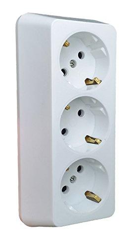 NEU 3-fach Aufputz Steckdose Hergestellt im EU Mehrachstecker Steckdosenleiste 4 Steckdosen Aufputz Koppler Ohne Kabel (3-Fach, Weiß)